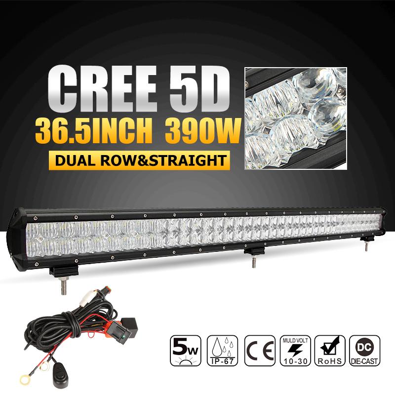 "36.5"" 5D LED Light Bar CREE 390W Straight Dual Row Combo Beam Offroad Led Work Light Bar ATV SUV 4WD 4x4 Driving Lamp 12v 24v(China (Mainland))"
