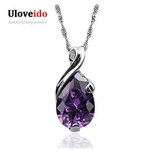 Uloveido Silver Necklaces Pendants Women Amethyst CZ Diamond Choker Rhinestone Suspension 2016 Collares Mujer Bijouterie N327(China (Mainland))