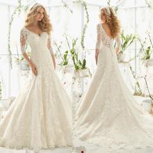 Vestidos De Novia 2016 Latest Designs Wedding Gowns V Neckline Long Sleeve Lace A Line Wedding Dress Bride Dresses WA3(China (Mainland))