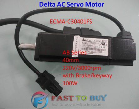 Delta AC Servo Motor AB Series ECMA-C30401FS 40mm 220V 3000rpm with Brake/keyway 100W 0.1KW New(China (Mainland))