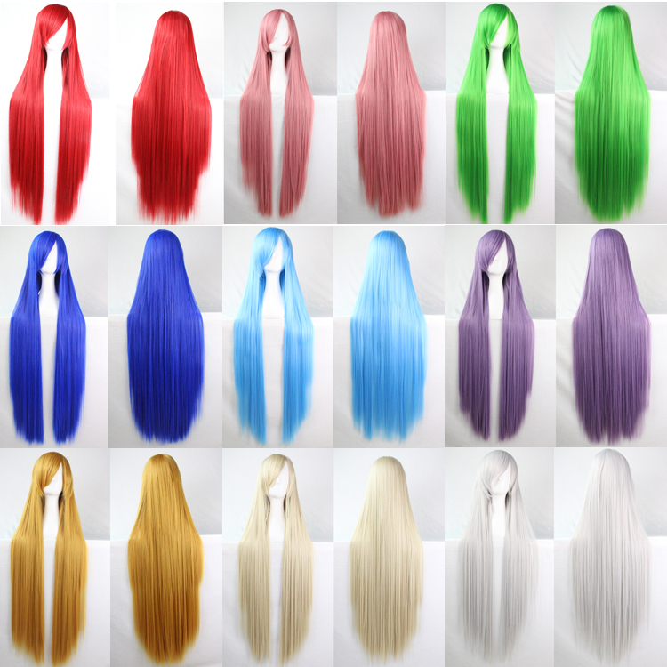 100Cm Heat Resistant Harajuku Anime Cosplay Wigs Young Long Straight Synthetic Hair Wig/Wigs Perruque Wig For Black Women<br><br>Aliexpress
