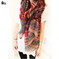 2016 hot sale woman fashion Scarf cotton linen long square scarves short tassel Red Geometric pattern Women Winter lady shawls