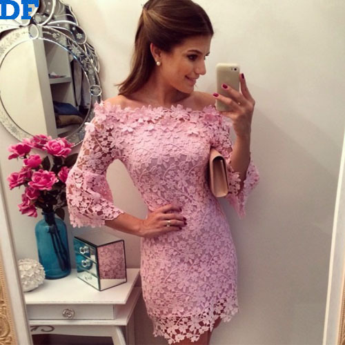 Vestido Rosa Romantic Pink Lace Womens Summer Dress 2015 Summer Style Handmade Crochet Dress Vestidos For Sexy Brazilian Cheap A(China (Mainland))