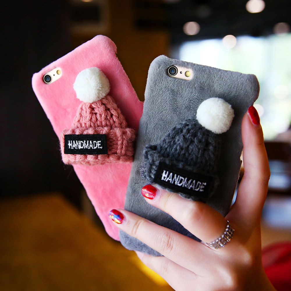Fashion Plush Case For iPhone 6 6s Plus Lovely Knitted Hat Phone Back Cover Cute Girly Christmas Cap Hard Cases For iPhone 6 6s(China (Mainland))