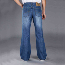 Mens Blue Flared Jeans Trousers Long Wide Leg Bell Bottom Jeans Plus Size Flare Pants Bootcut Jeans For Men 27-38