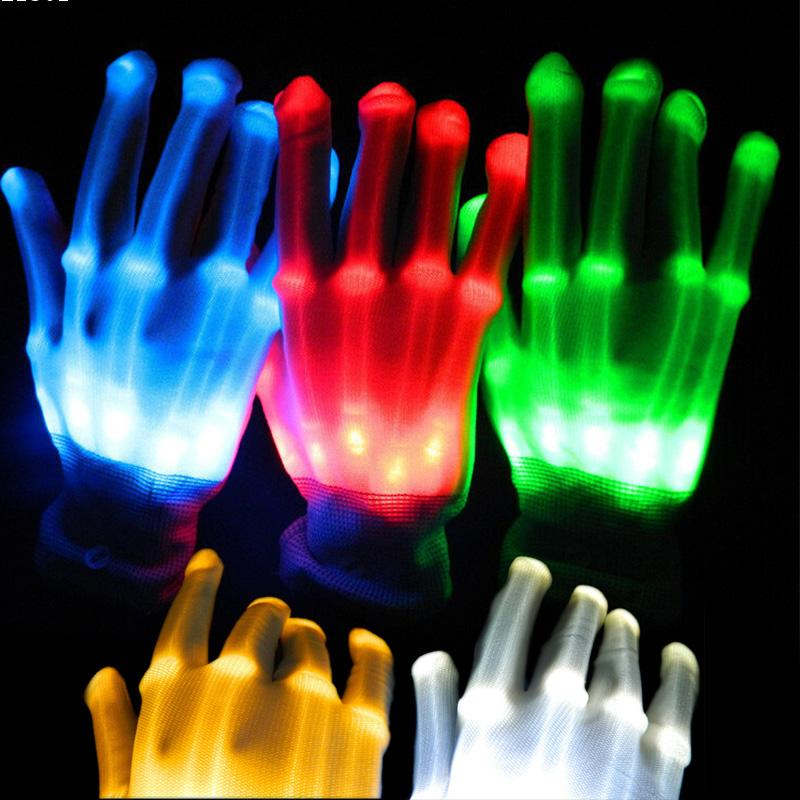 Pair of LED gloves luminous flower finger light gloves party supplies dancing club props light up toys glowing unique gloves L45(China (Mainland))