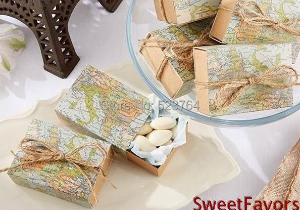 """""""Around the World"""" Map Favor Box for traveling theme wedding decoration gift box and Kraft box Party candy box(China (Mainland))"""