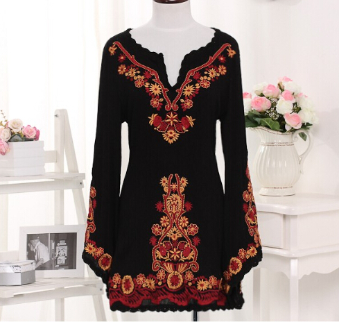 Vintage Clothes Women Black Embroidery Womens Dresses Batwing Sleeve Ethnic Style Dress Cotton Linen Flower Clothing