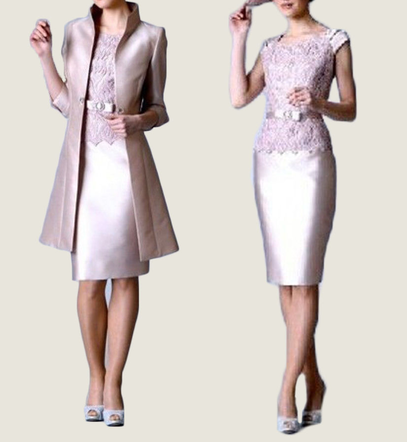 Satin Mother Of The Bride Outfits Pink Knee Length Mother