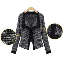 Spring Autumn New Women Knitted Jacket Cardigan Black White Short Slim Coats Jacket 2016 New Tops KFF305
