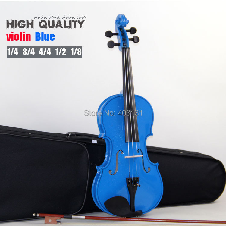 Sky Blue 4/4 Violin (1/4 & 3/4 & 1/2 & 1/8) Acoustic Violin with Violin Case / Rosin Violino Free Shipping(China (Mainland))