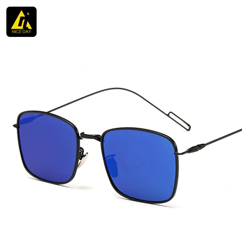 New Luxury Square Sunglasses Women Brand Designer Sun glasses men Fashion Men Metal Glasses European Unique Flat Coating Lens(China (Mainland))