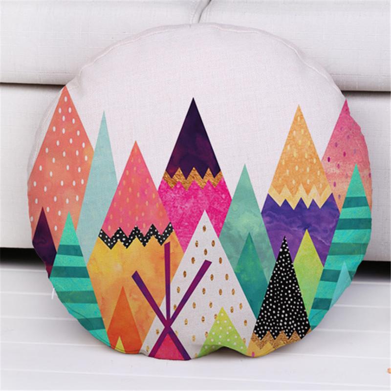 45cm Color Geometric Decorative Pillow Cover Cotton Linen Round Cushion cover Chair Waist Back Seat Round Cushion Case Cover(China (Mainland))