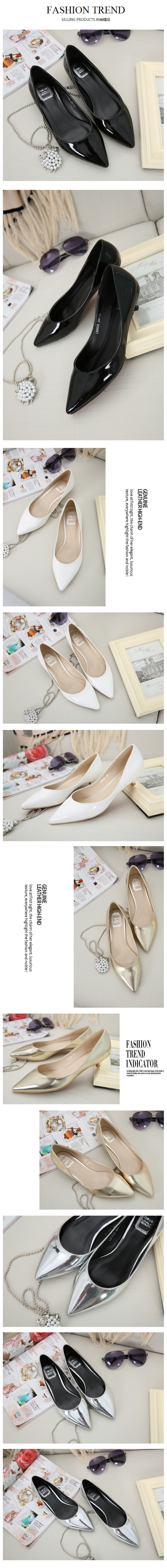Honeycherry Mirror Low Tip Occupation Women Shoe  Pointed Toe Spike Heels Fashion Women Shoes Shallow Pumps