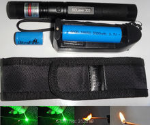 ( 303 ) 532nm Laser Pointer 1000mw Green Laser Pen 303 Focus Burning Matchs with 18650 Battery +16340 battery + Charger +Holster(China (Mainland))
