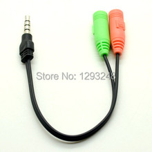 Free Shipping 3.5mm PC Headphone to Smartphone Adapter Dual Female to Male Splitter Cable Cord Y721 2zVgC