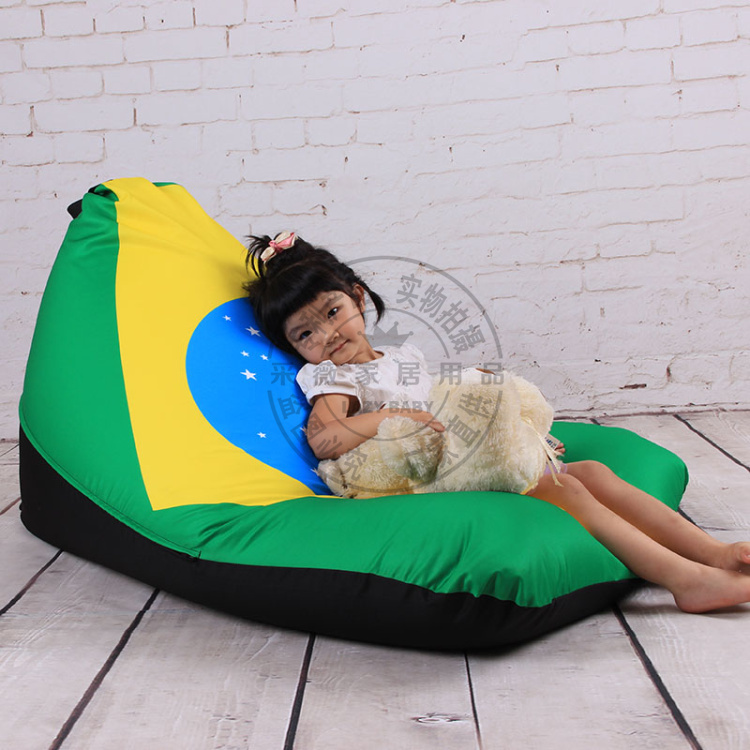 Brazil Flag Canvas PU Oxford Adult&Kids Bean Bag Chair Beanbag Seat Cover Without The Beans Filling Free Shipping()