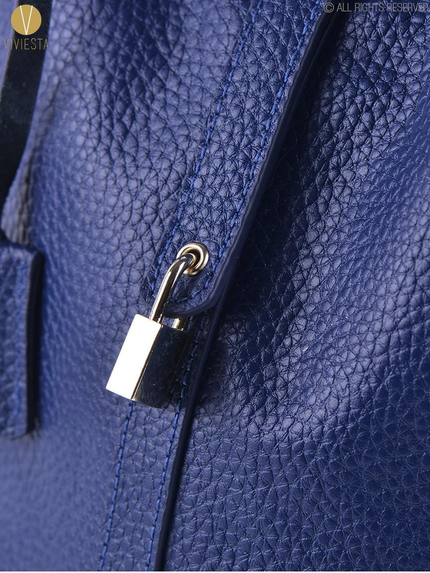 KEY LOCK MINI BUCKET TOTE IN GENUINE LEATHER - Women's New Fashion Tre