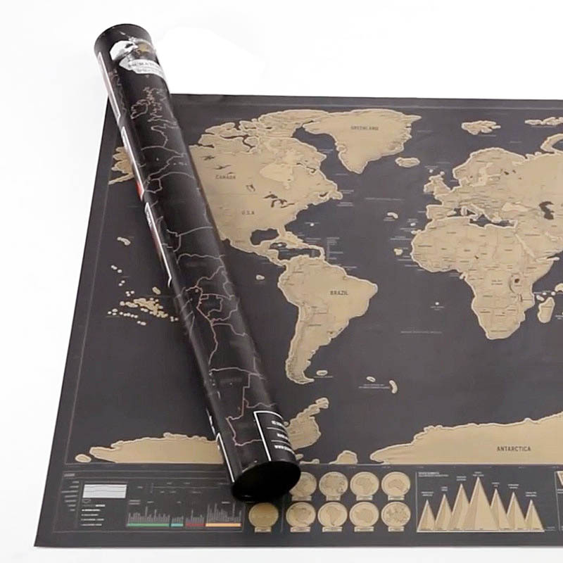 New Design Black Scratch Map Travel Scratch Map World Map Best gift for Home Decor Classic map for Education School(China (Mainland))