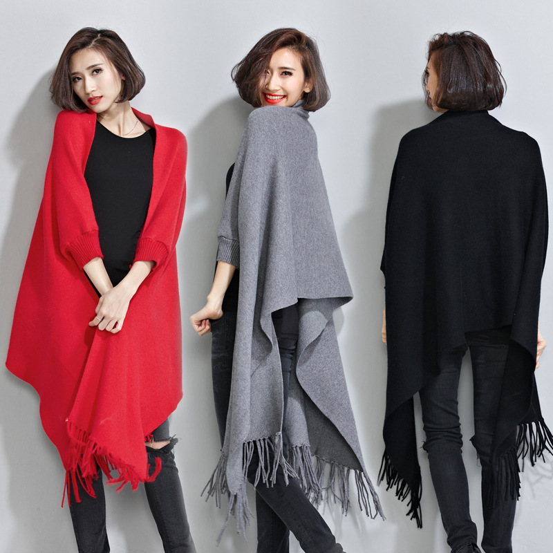 2015 Winter Women Sweater Warm Cloak Knitted Fringed Wrap Shawl Cardigan Coat Batwing Sleeve Wool Cotton Blends Solid Tassels(China (Mainland))