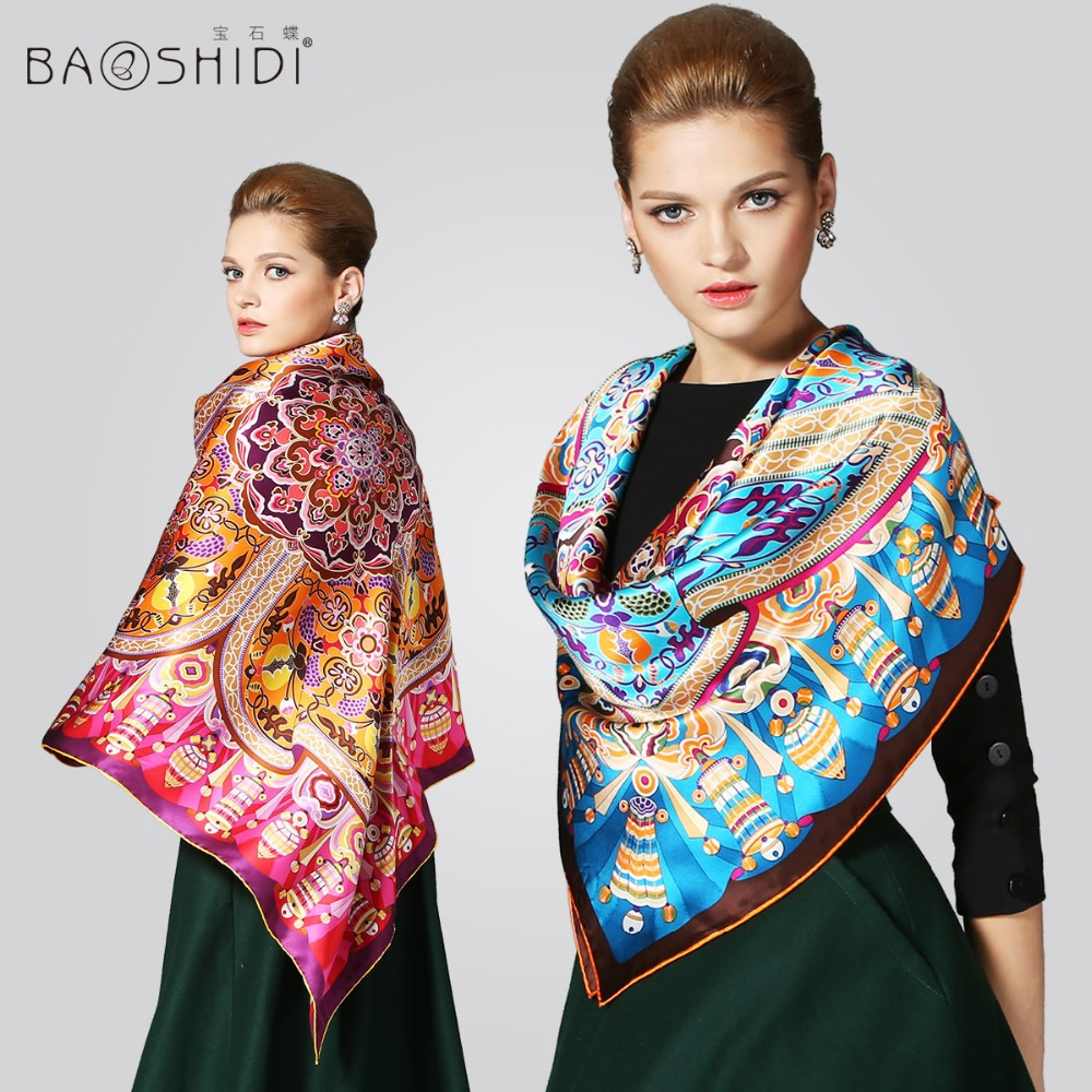 Latest Fashion Autumn Summer Winter 2016 New Pashmina Shawl Floral Print Scarves Big Size 106x106cm Real Silk Scarf Hijabs B33(China (Mainland))