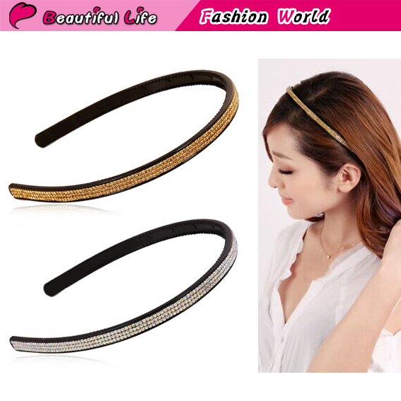 New Fashion Ladies Dazzling Rhinestone Toothed Hairbands Narrow Synthetic Resin Headbands For Women Hair Accessory Hair Jewelry(China (Mainland))