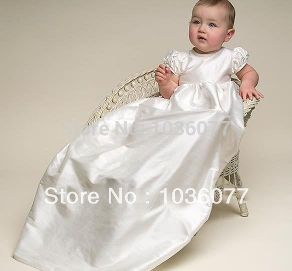 New Custom Made CH001 New Hot Sale Imitated Silk Lace Baptism Christening Dress Baby Christening Gown(China (Mainland))