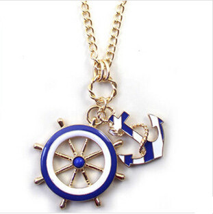 2016 European vintage blue anchor rudder pendant necklaces women,Fashion gold plated long sweater necklace chain,N176 - Big Girl Fashion Factory store