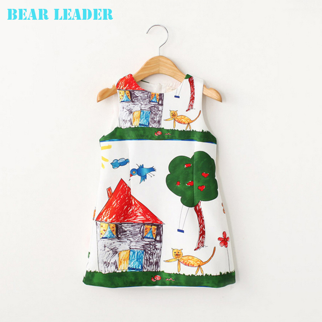 Bear Leader 2016 New Girls Dress Summer Kids Clothes Children Clothing Brand Character Pattern Sleeveless Baby Girl Dress Party