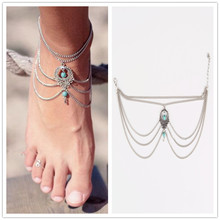 1PC Hot Summer Ankle Bracelet Bohemian Foot Jewelry Turquoise Turquoise Anklets for Women FC029(China (Mainland))