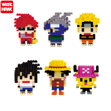 Wisehawk New Hot Mini Cute Kawaii Anime One Piece Uzumaki Naruto Luffy Cartoon Building Blocks Educational Model Toys Gift