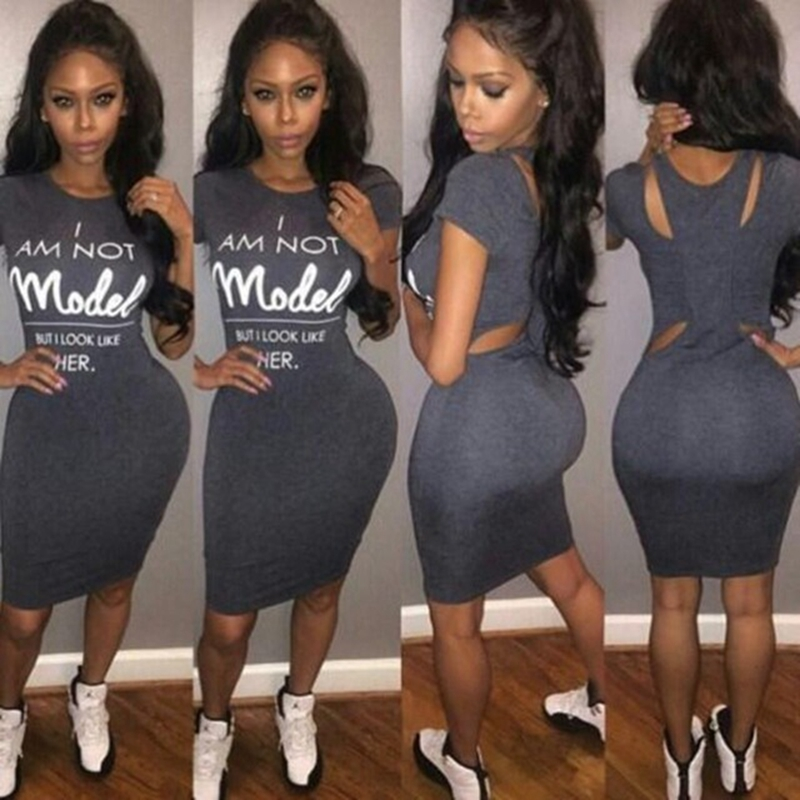 2016 fashion women spring summer style bodycon dress solid grey sexy party club print letter cute casual dresses(China (Mainland))