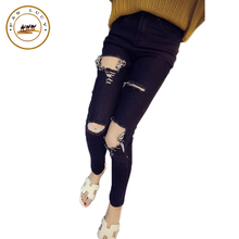 2016 autumn new hole jeans woman slim pencil pants skinny black cowboy pants ankle-length pants ripped jeans for women femme