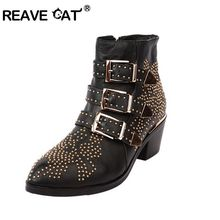 2016 Winter Top-Lined Susanna Studded Leather Buckle Ankle Boots For Women Round Toe Kitten Heels Shoes Women zapatos mujer(China (Mainland))