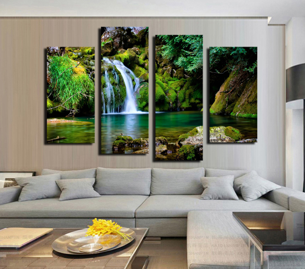 Buy 4 panel waterfall and green lake large hd picture modern home wall decor - Home decor picture ...