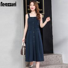 Nerazzurri spaghetti correa sin espalda sexy vestido largo sin mangas elástico Delgado botón midi vestido 5xl 6xl ropa de talla grande para mujer(China)