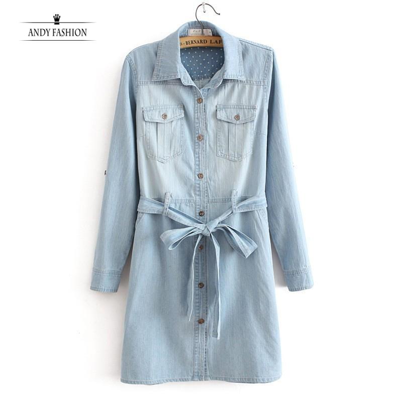 2015 New Womens Dress Korean Style Women Lapel Long Sleeve Pocket Denim 3M27 - Andy's Fashion Shopping Mall store