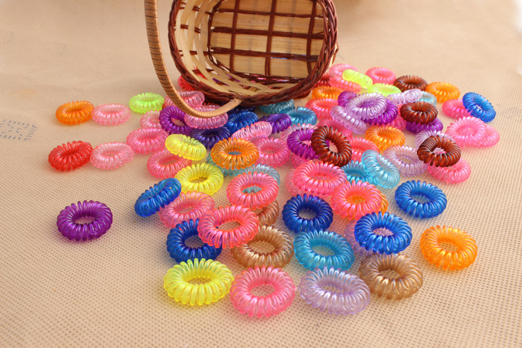 Free Shipping 5 Pieces Candy Color Telephone Coil Circle Not To Hurt The Hair Rope Rope(China (Mainland))