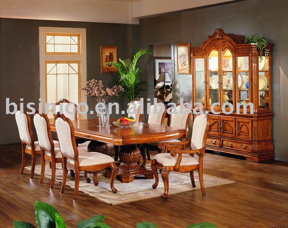 Solid wood and hand carving american dining room furniture for Comedores antiguos de madera