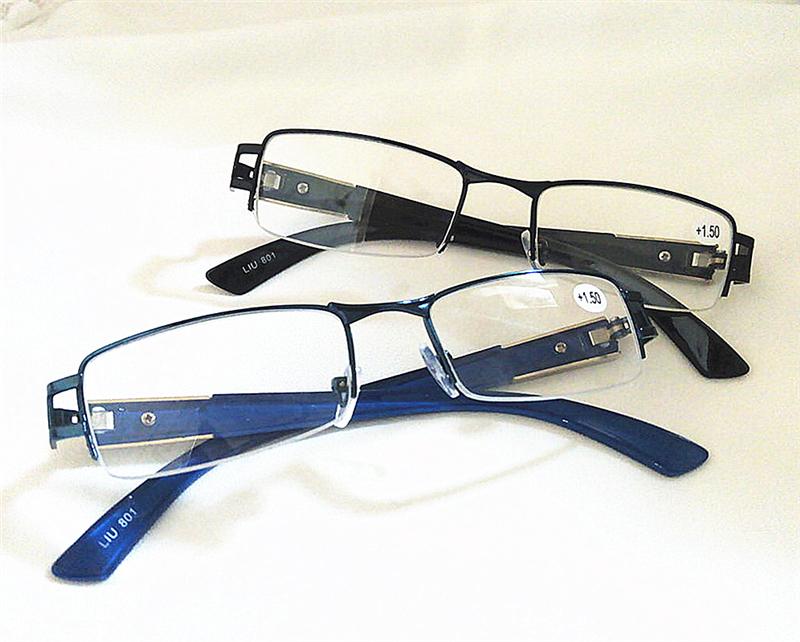 Reading Glasses Half Frame Rimless : Mens Black&Blue Metal Half Rimless Square Frame Reading ...