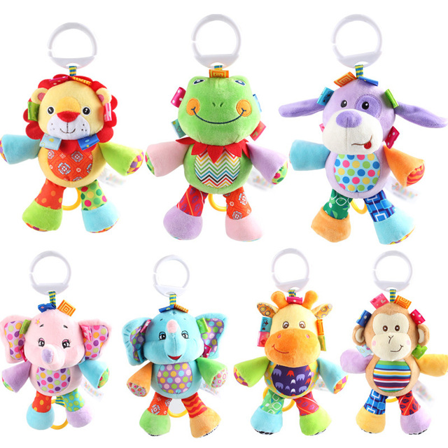 7 Styles 2016 Baby Toys Animal Baby Rattles & Mobiles Infant Plush Learning Products Kids Gift