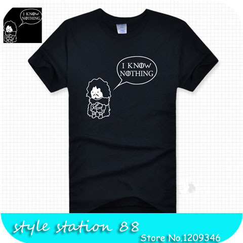 Dropshipping 2015 New Summer Style GAME OF THRONES I Know nothing Printed Funny Men T shirt Boy London Hip Pop Sport Camisetas(China (Mainland))