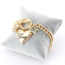 New Women Fashion Style Rhinestone Love Heart Bangle Hand Chain Bracelets Jewelr(China (Mainland))