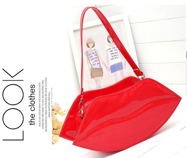 women fashion sexy Messenger bag evening handbags mini lip clutches bags lady elegant vintage wallet red orange shoulderbags