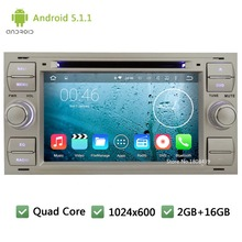 Quad Core Android 5.1.1 1024*600 Car DVD Player Radio Stereo Audio Screen For Ford Fiesta Galaxy Fusion Old Focus II Kuga Mondeo