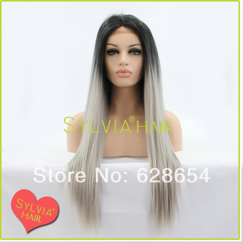 FREE SHIPPING hot selling #1BT #T0906 16-24inch straight hair synthetic lace front wigs good quality<br><br>Aliexpress