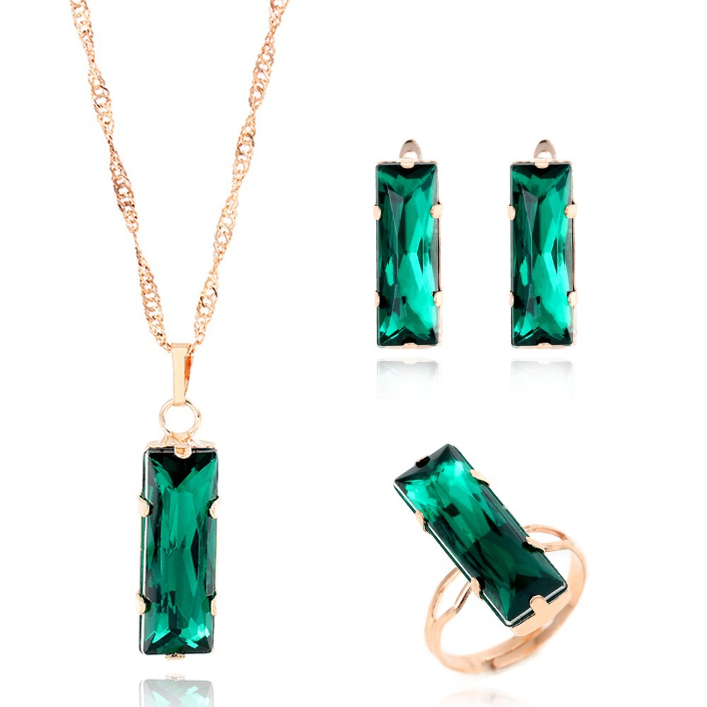 New Women Jewelry Set Gold Plated Lovely Charm Green Gem
