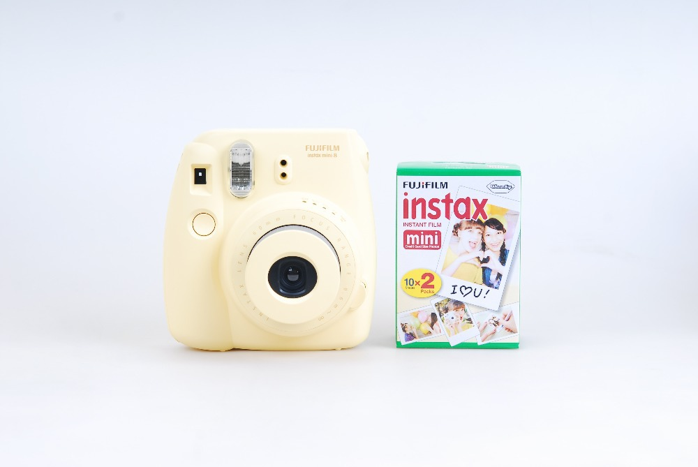 Fujifilm Instax Mini 8 Yellow Instant Photo Camera Plus Mini Film (1 Twin Pack 20 sheets) Free shipping(China (Mainland))