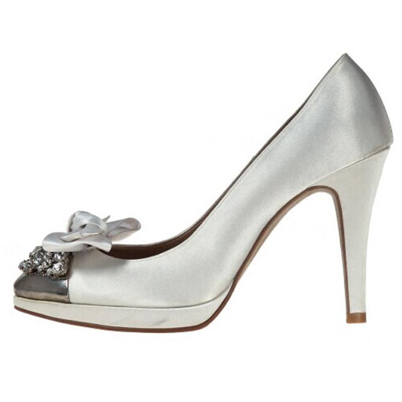 Fashion Rhinestone Spring High Heel Shoes White Satin Bridal Shoes Wedding Bridesmaid Shoes
