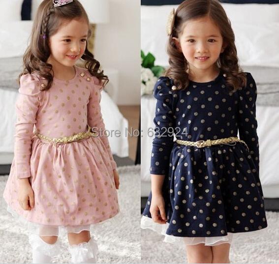 2015 spring summer girl dress Kids Toddler Girls Princess Dress Long Sleeve Polka Dots Buttons Dress Ages With Belt(China (Mainland))